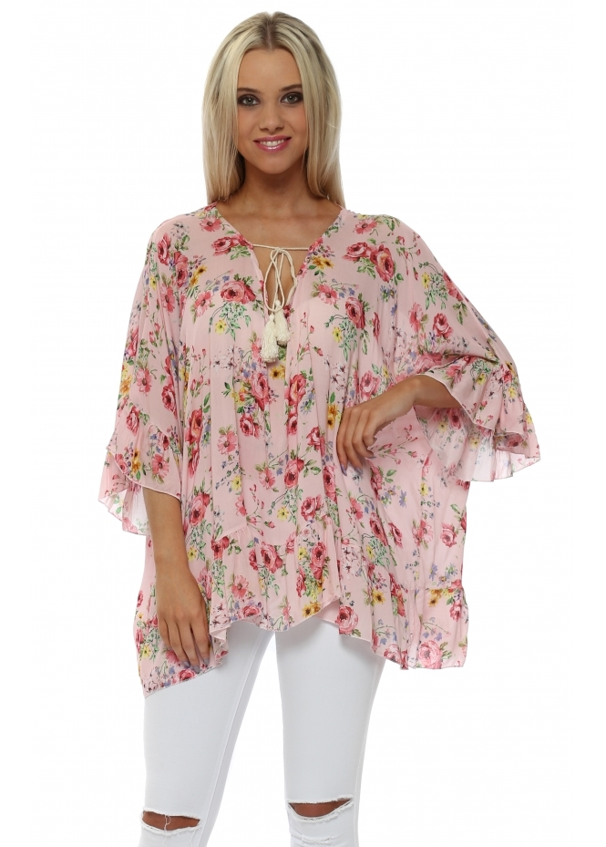 Italian Boutique Pink Floral Print Ruffle Sleeve Tie Top