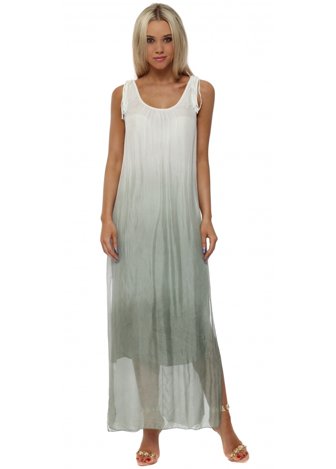 Italian Boutique Crochet Back Khaki Dip Dye Silk Maxi Dress