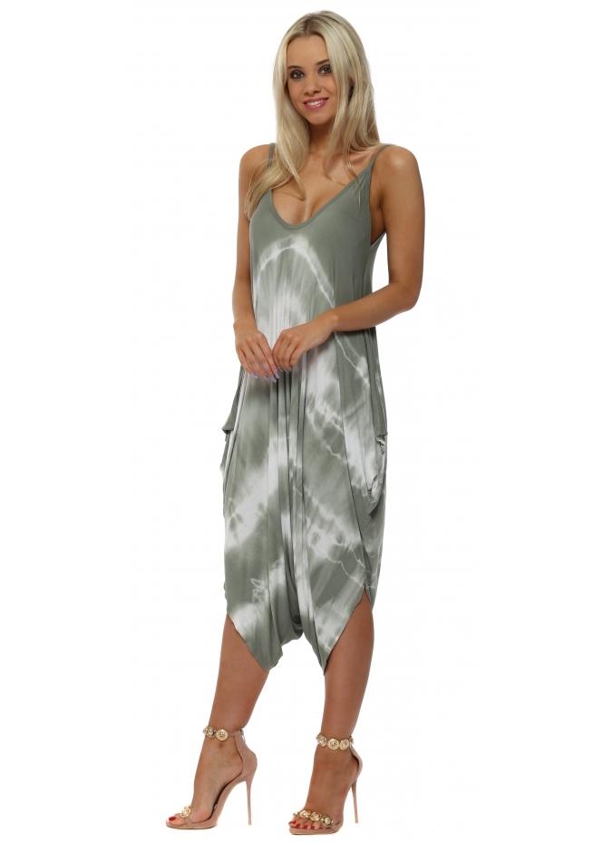 French Boutique Khaki Tie Dye Jersey Harem Parachute Jumpsuit