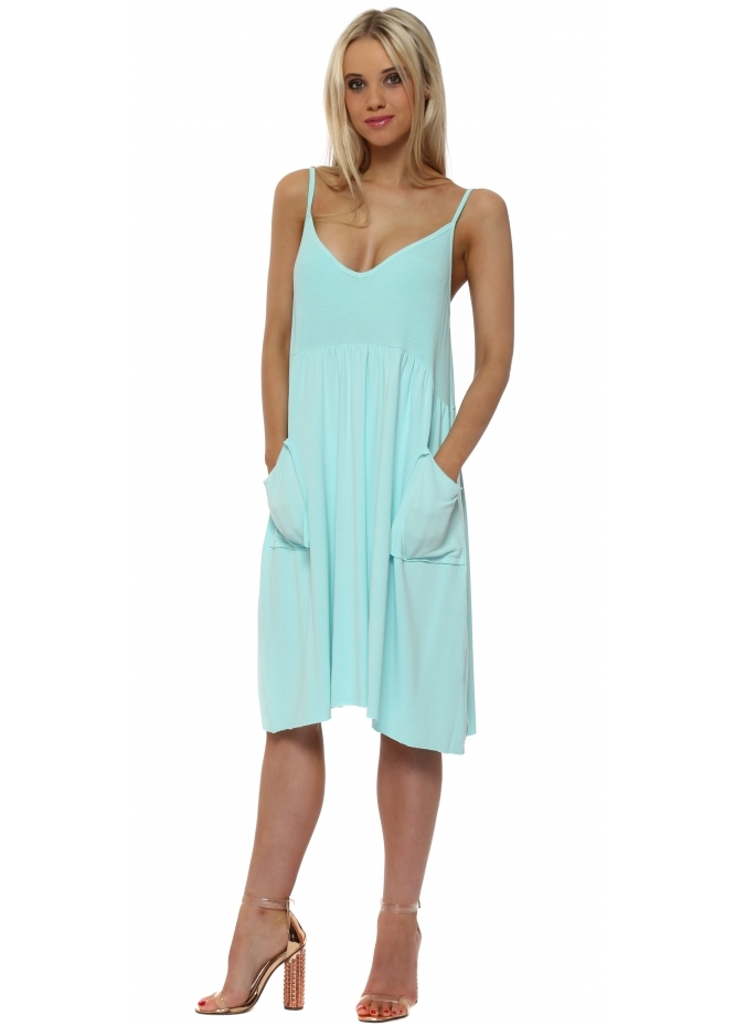 A Postcard From Brighton Slippy Stringlet Strap Side Pocket Dress In Paradise Blue