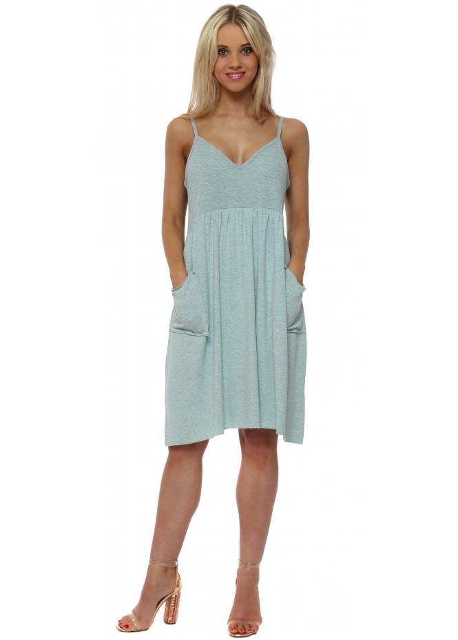 A Postcard From Brighton Slippy Stringlet Strap Side Pocket Dress In Paradise Blue Melange
