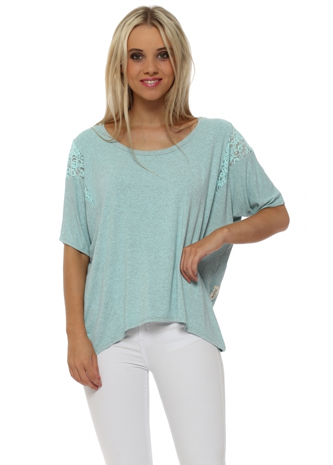 A Postcard From Brighton Sleeveless Eve Paradise Blue Melange Lace Insert Karma Top