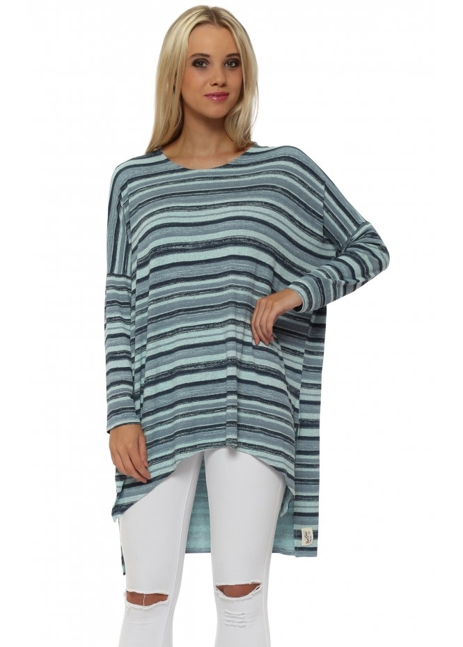 A Postcard From Brighton Odette Ombre Stripe Paradise Blue Slouch Top