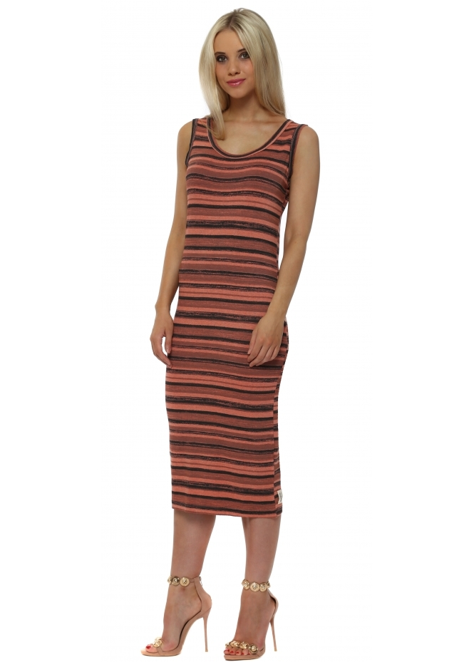 A Postcard From Brighton Oceana Ombre Stripe Print Midi Dress In Melon