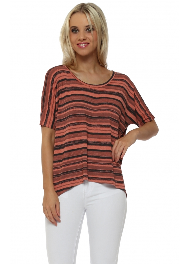 A Postcard From Brighton Oona Ombre Stripe Sleeveless Top In Melon