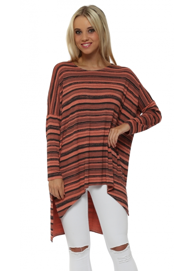 A Postcard From Brighton Odette Ombre Stripe Melon Slouch Top