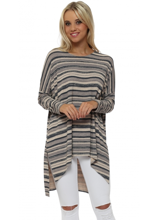 A Postcard From Brighton Odette Ombre Stripe Peach Ice Slouch Top