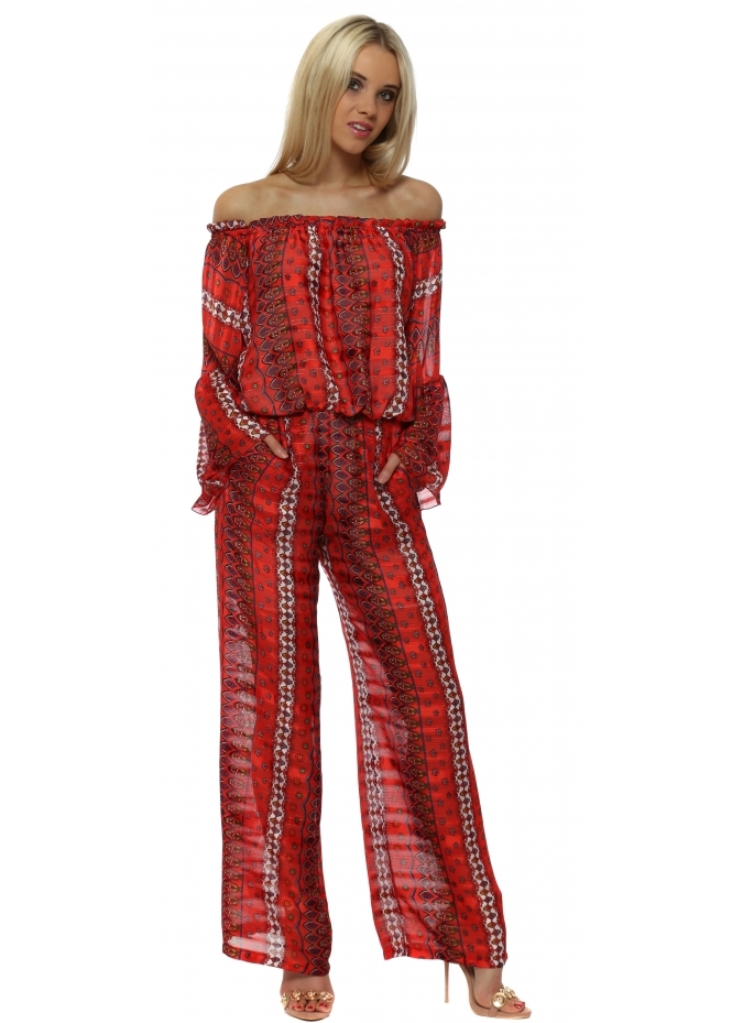 Briefly Red Printed Bardot Chiffon Jumpsuit