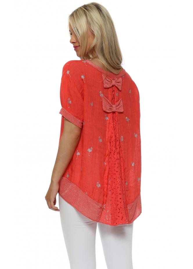 J&L Paris Coral Linen & Lace Flamingo Print Bow Back Top