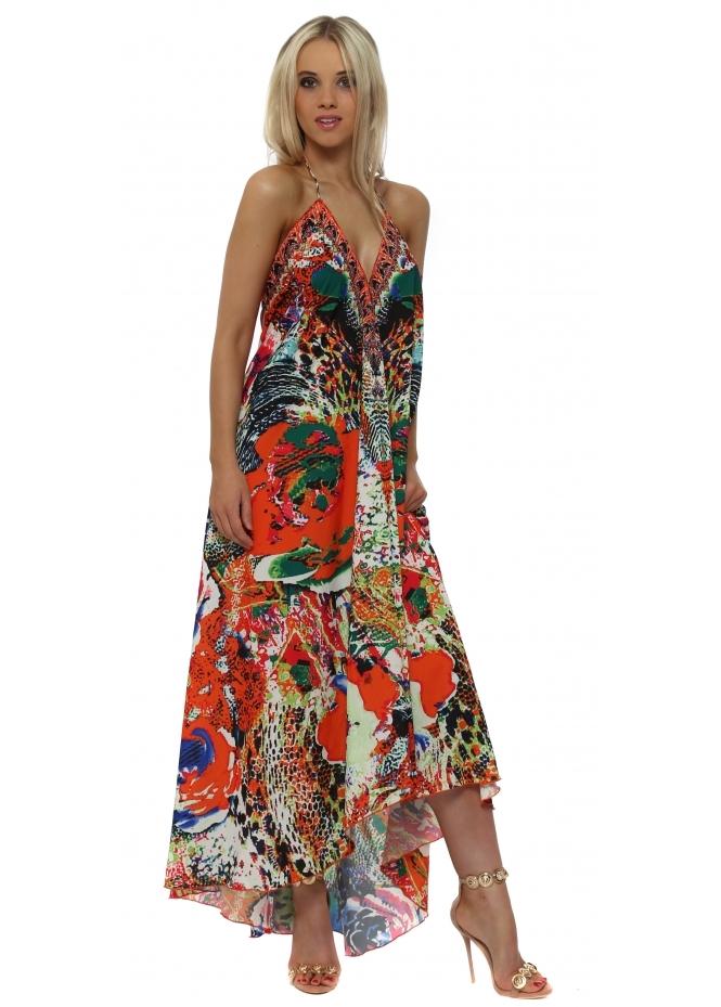 Frime Tropical Orange Multi Print Halter Neck Maxi Dress