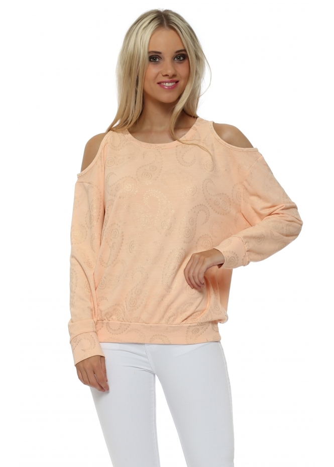 A Postcard From Brighton Perrie Peach Ice Gold Paisley Cold Shoulder Sweater