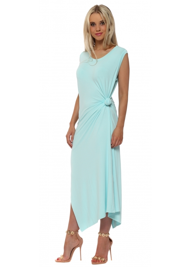 A Postcard From Brighton Chloe Knot Tie Maxi Dress In Paradise Blue