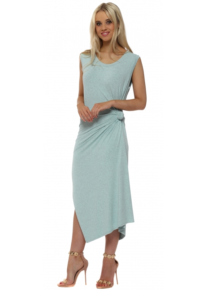 A Postcard From Brighton Chloe Knot Tie Maxi Dress In Paradise Blue Melange