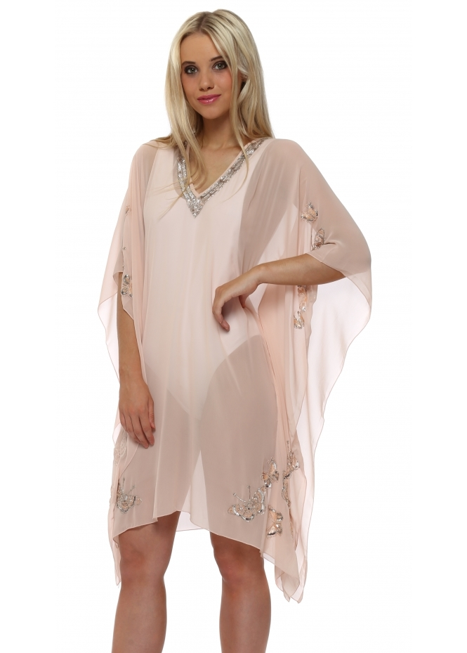 French Boutique Nude Pink Butterfly Embellished Kaftan Top