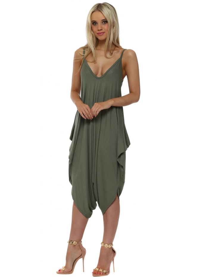Made In Italy Khaki Jersey Parachute Strappy Jumpsuit
