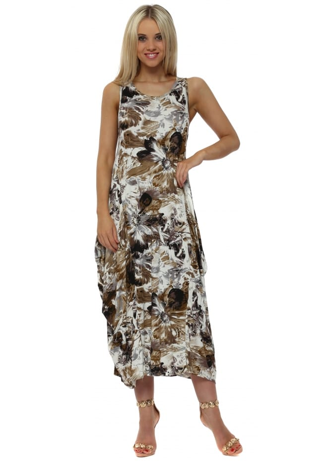 Made In Italy Mocha Print Parachute Jersey Maxi Dress