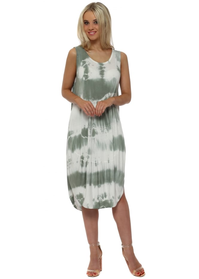 Made In Italy Khaki Tie Dye Scoop Bottom Jersey Midi Dress