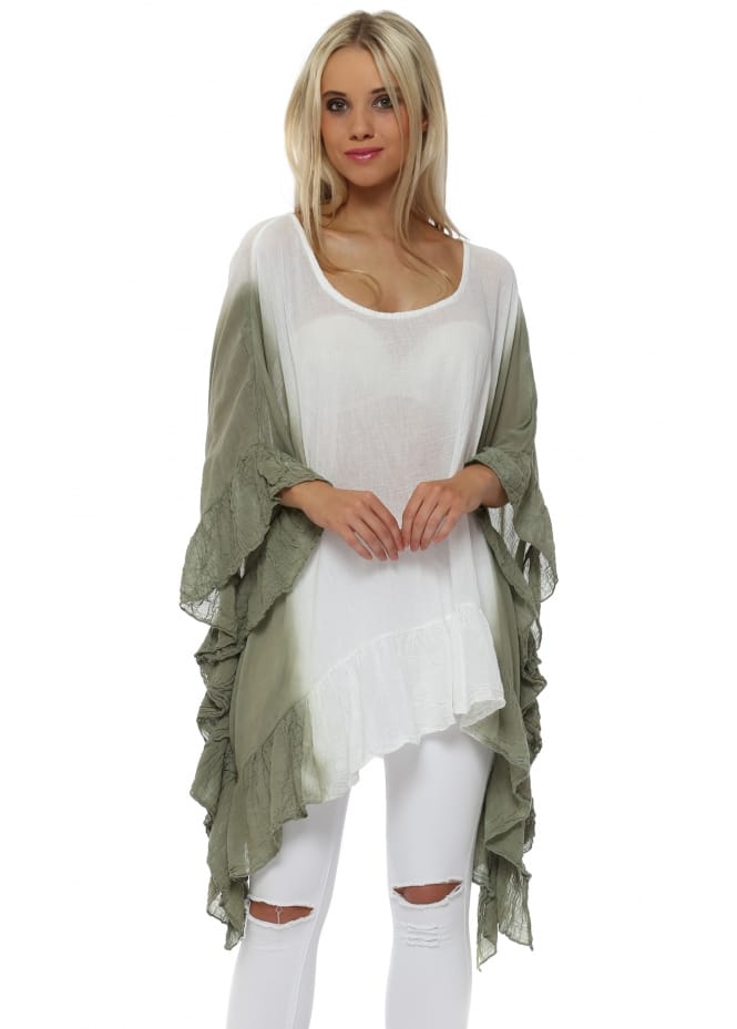 Made In Italy Khaki Dip Dye Ruffle Tunic Top