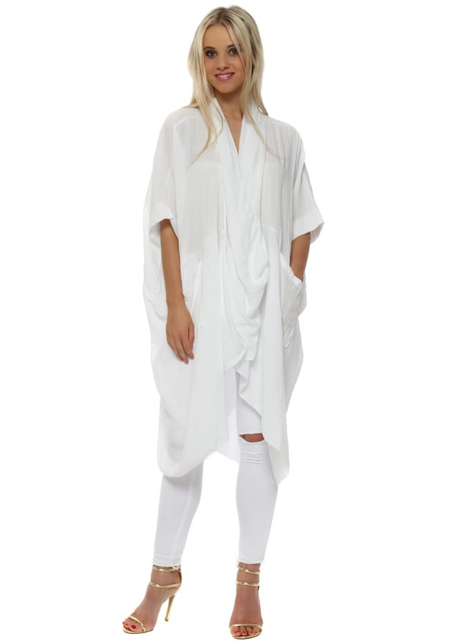 Made In Italy White Cotton Crossover Draped Oversized Top