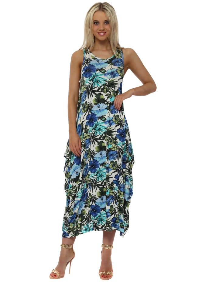 Made In Italy Blue Exotic Floral Print Parachute Maxi Dress