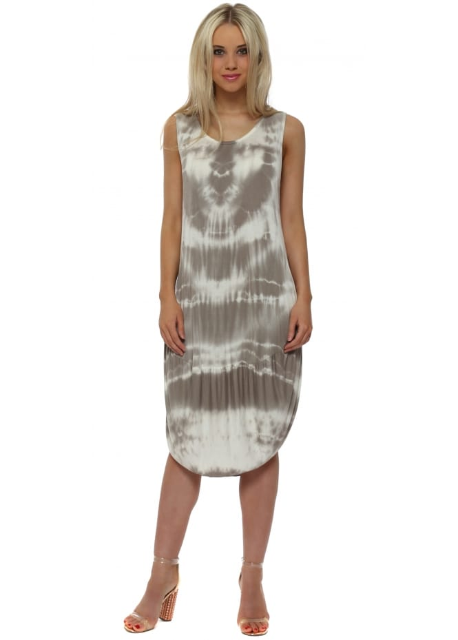 Made In Italy Mocha Tie Dye Scoop Bottom Jersey Midi Dress