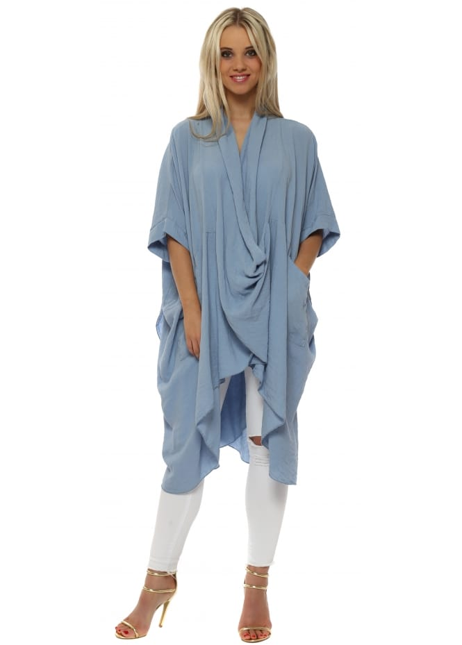 Made In Italy Baby Blue Cotton Crossover Draped Oversized Top