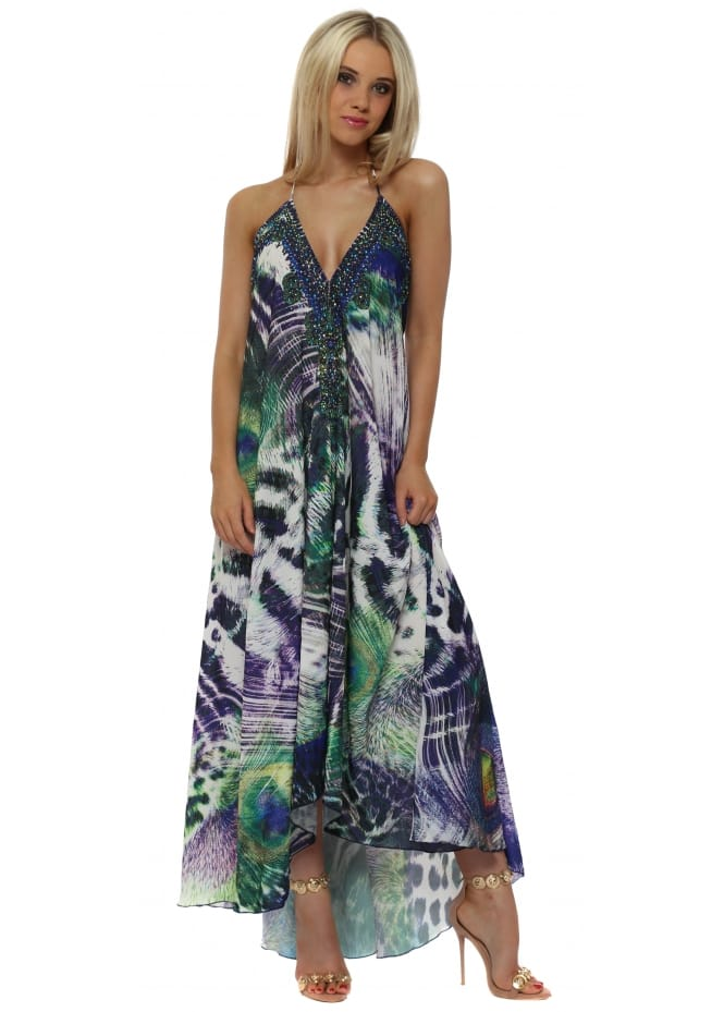 Frime Purple & Green Peacock Print Halterneck Maxi Dress