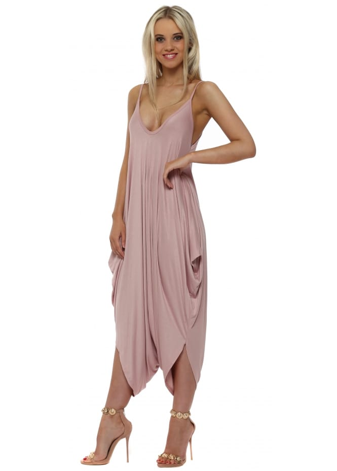 Made In Italy Rose Pink Jersey Parachute Strappy Jumpsuit