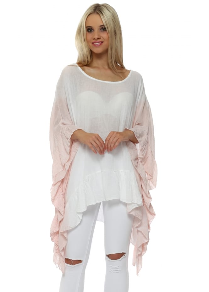 Made In Italy Baby Pink Dip Dye Ruffle Tunic Top
