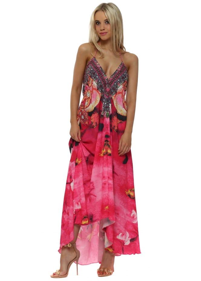 Frime Bright Pink Floral Print Halterneck Maxi Dress