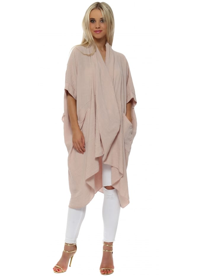 Made In Italy Dusky Pink Cotton Crossover Draped Oversized Top