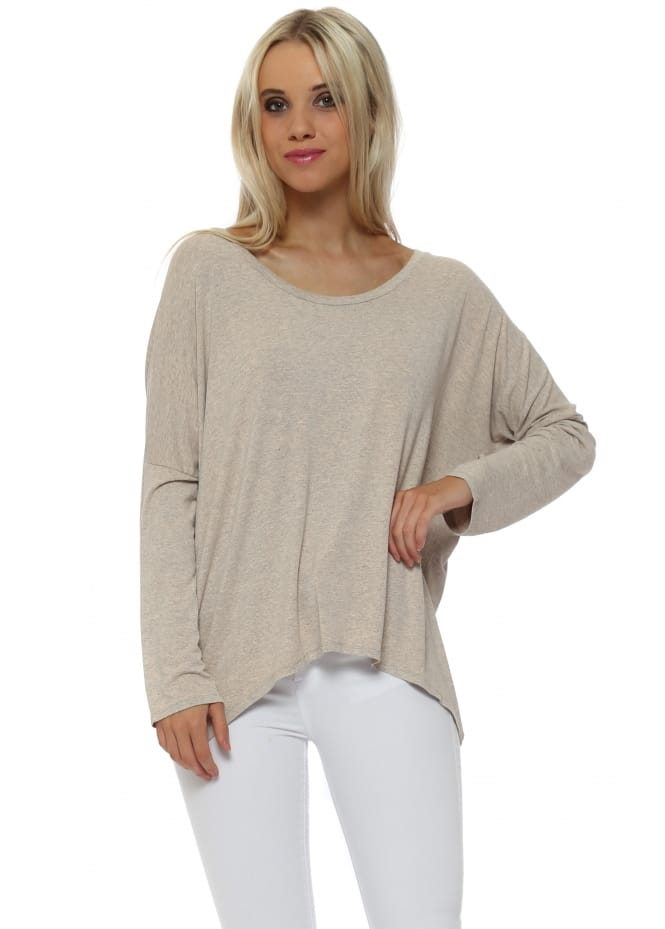 A Postcard From Brighton Karma Long Sleeve Slouch Top In Peach Ice Melange