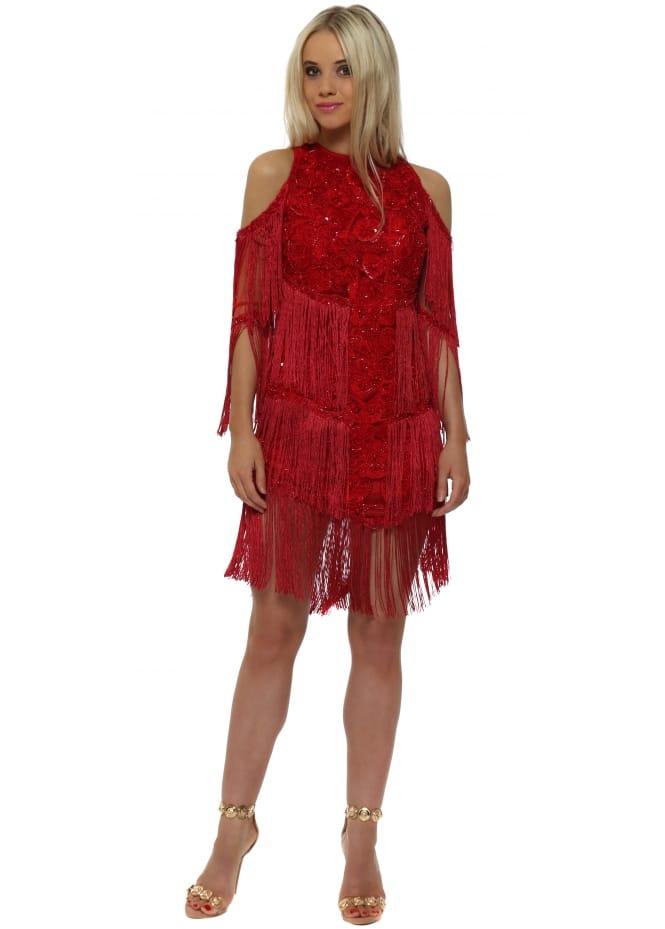 Starry Eyed EXCLUSIVE Red Tassel Embellished Cold Shoulder Mini Dress