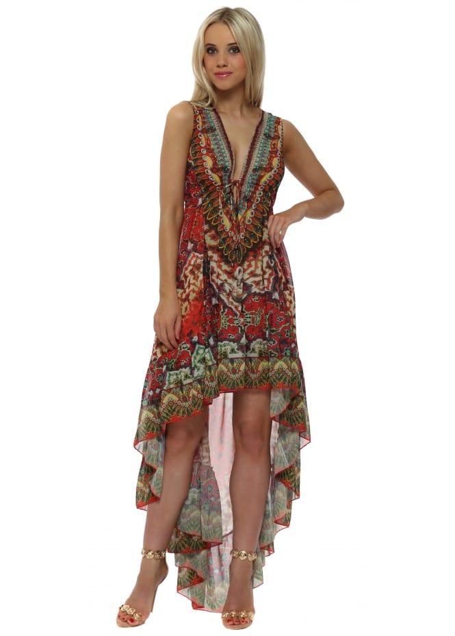 Frime Red Tile Print Hi Low Swing Hem Maxi Dress