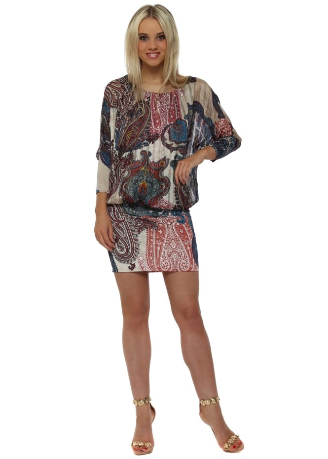 Troiska Taupe & Blue Paisley Print Bandeau Hem Mini Dress