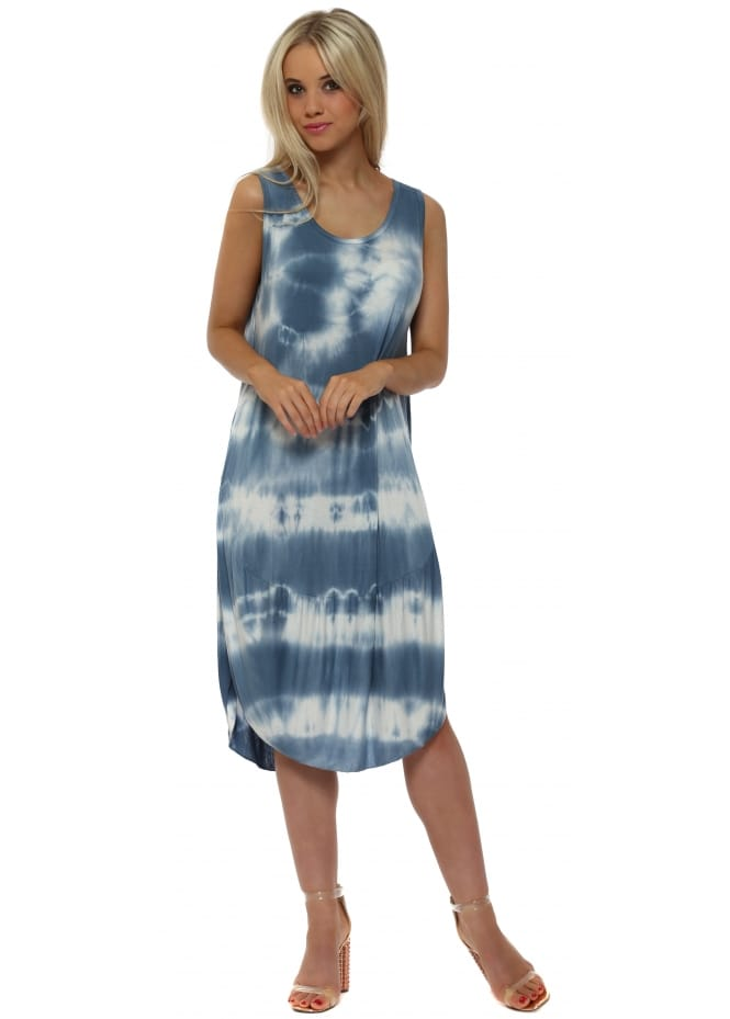 Made In Italy Blue Tie Dye Scoop Bottom Jersey Midi Dress
