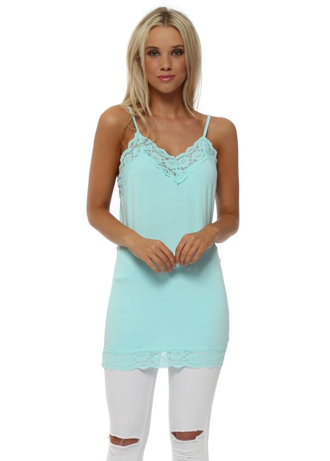 A Postcard From Brighton Ling Ling Lace Trim String Vest In Paradise Blue