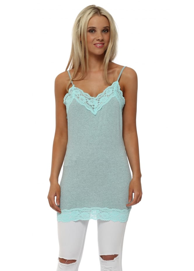 A Postcard From Brighton Ling Ling Lace Trim Strappy Vest In Paradise Blue Melange