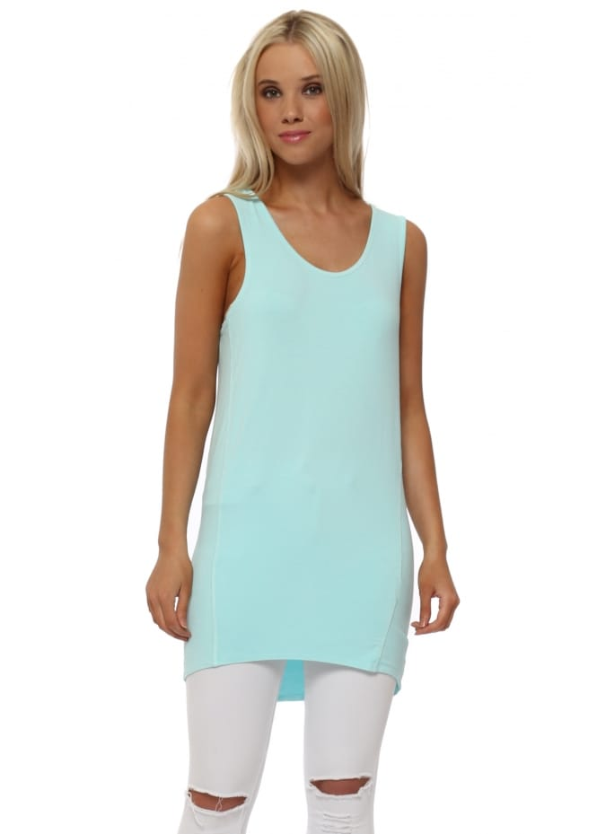 A Postcard From Brighton Sporty Dip Hem Vest In Paradise Blue