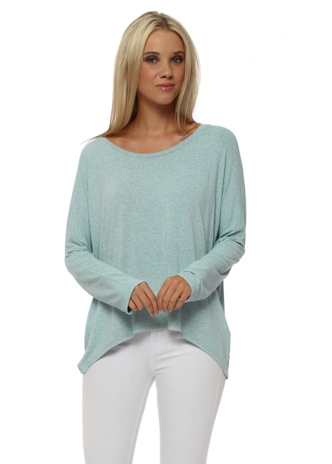 A Postcard From Brighton Karma Long Sleeve Slouch Top In Paradise Blue Melange