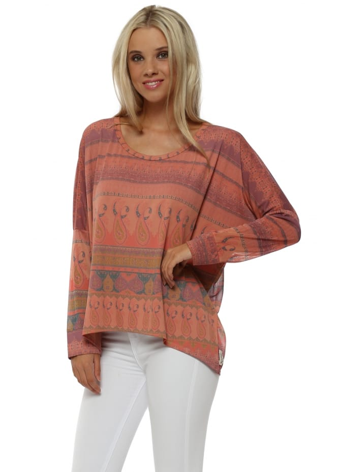 A Postcard From Brighton Marrakesh Chiffon Back Marbs Top In Melon