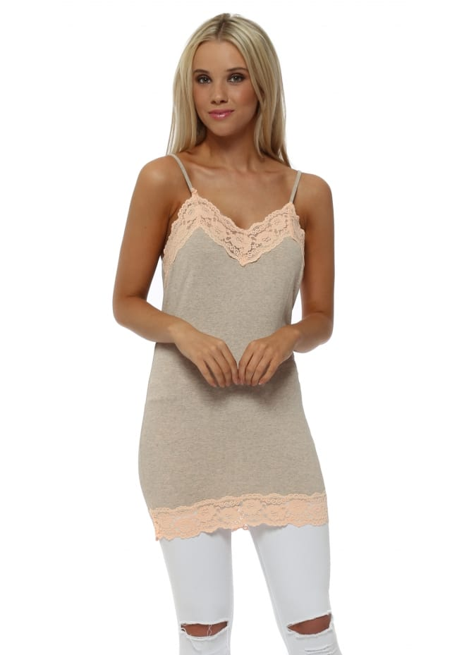 A Postcard From Brighton Ling Ling Lace Trim Strappy Vest In Peach Ice Melange