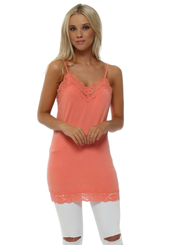 A Postcard From Brighton Ling Ling Lace Trim Strappy Vest In Melon
