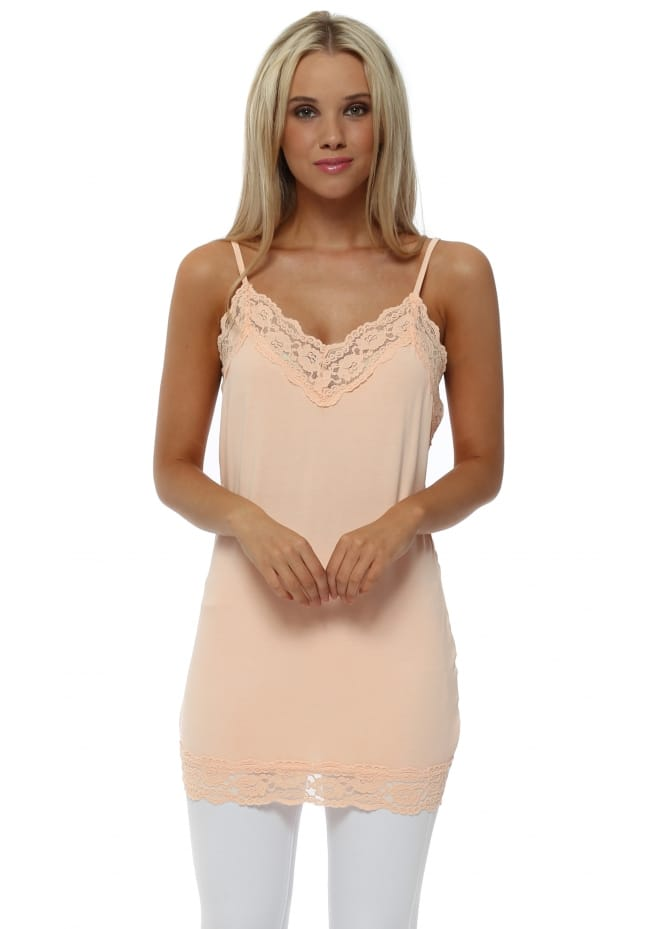 A Postcard From Brighton Ling Ling Lace Trim Strappy Vest In Peach Ice