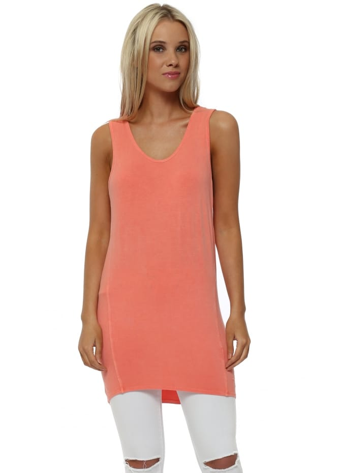 A Postcard From Brighton Sporty Dip Hem Vest In Melon
