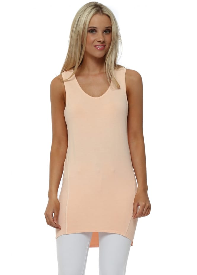 A Postcard From Brighton Sporty Dip Hem Vest In Peach Ice
