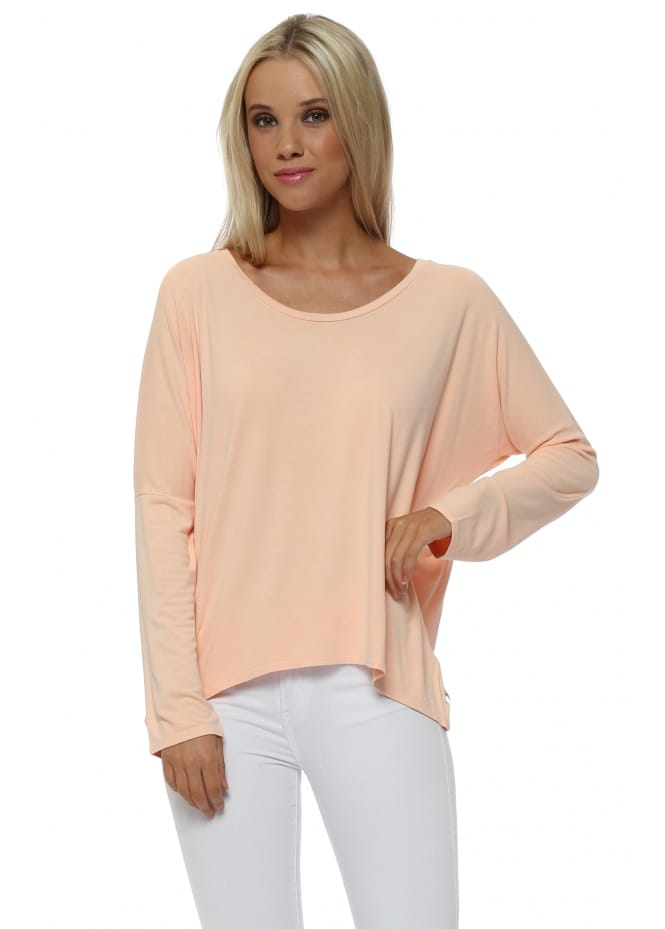 A Postcard From Brighton Karma Long Sleeve Slouch Top In Peach Ice