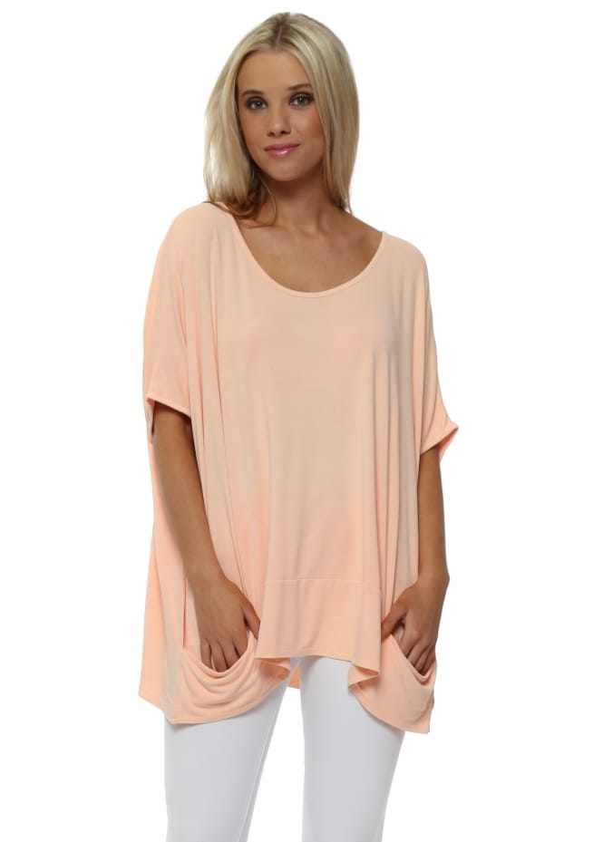A Postcard From Brighton Sleeveless Pammy Slouch Jersey Top In Peach Ice
