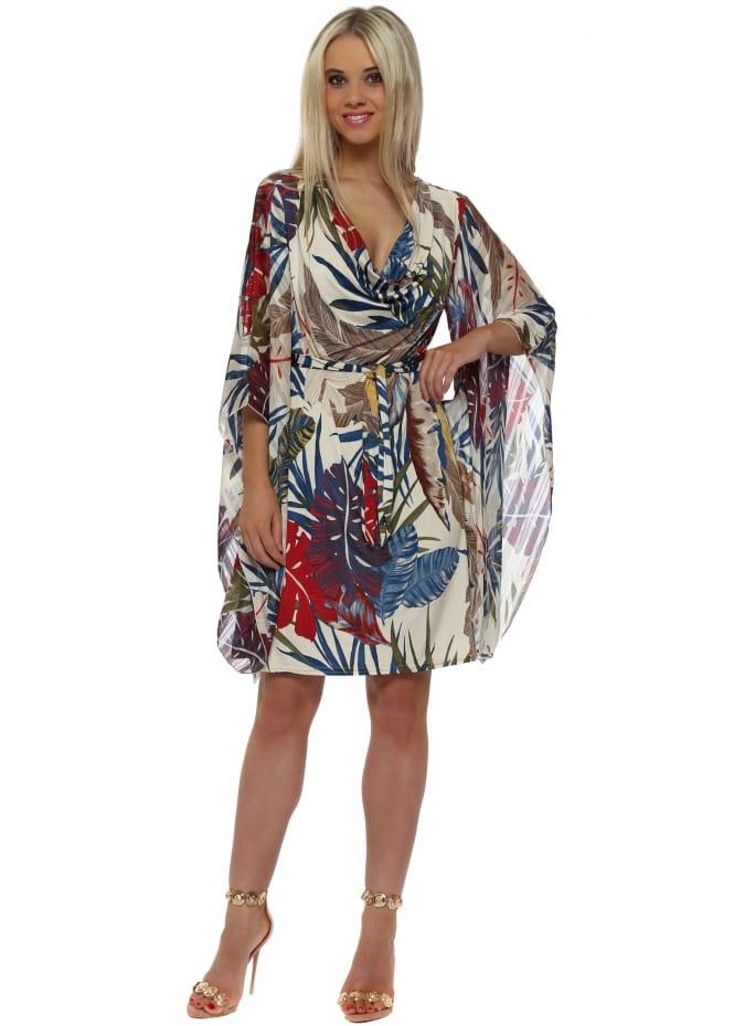 Troiska Beige & Blue Palm Jersey Kaftan Tie Dress