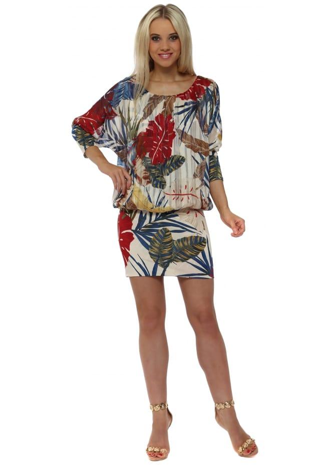Troiska Beige & Blue Palm Print Bandeau Hem Mini Dress
